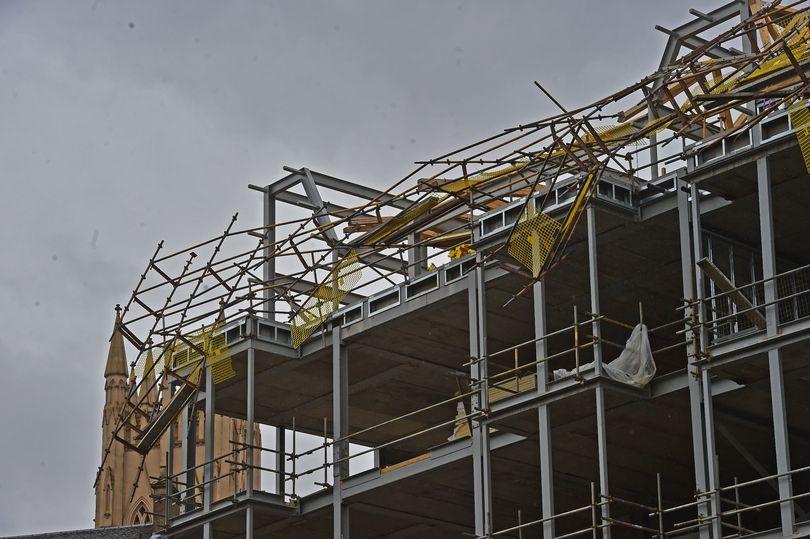 overturned scaffold in Glasgow